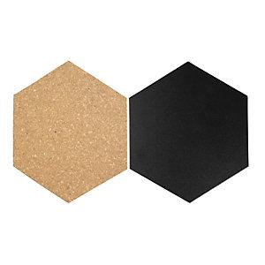 Securit® Set 4 Lavagne e 3 Bacheche in sughero a forma di Esagono con 1 marcatore a gesso liquido bianco, 21 Adesivi e 6 Puntine inclusi