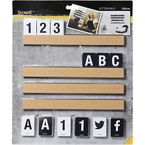 Securit® Set 4 mensole porta messaggio, 169 caratteri inclusi, Lunghezza 1 metro, Teak