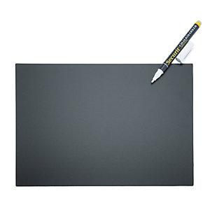 Securit® Set 5 Lavagne Tag A4 con 1 marcatore a gesso liquido bianco, 4 supporti a punta e 2 supporti da appoggio, Nero