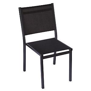 Sedia da giardino impilabile Sunny, Struttura Alluminio Antracite, Seduta e schienale Nero
