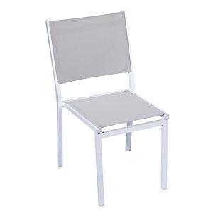 Sedia da giardino impilabile Sunny, Struttura Alluminio Bianco, Seduta e schienale Grigio chiaro