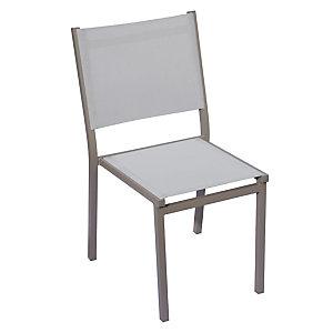 Sedia da giardino impilabile Sunny, Struttura Alluminio Tortora, Seduta e schienale Grigio chiaro