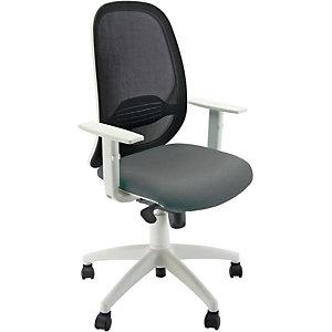 Sedia operativa ergonomica Grace con braccioli, Rete e tessuto ignifugo, Struttura bianco/Tessuto antracite