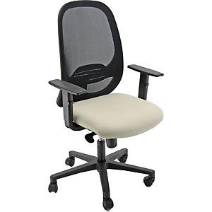 Sedia operativa ergonomica Grace con braccioli, Rete e tessuto ignifugo, Struttura nero/Tessuto beige