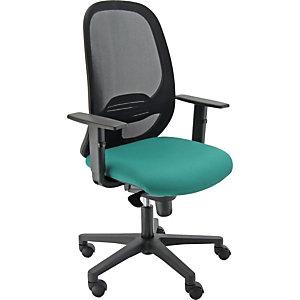 Sedia operativa ergonomica Grace con braccioli, Rete e tessuto ignifugo, Struttura nero/Tessuto verde