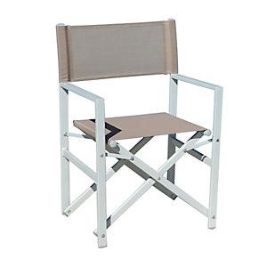 Sedia Regista, Struttura in alluminio Bianco Sandy/Tortora