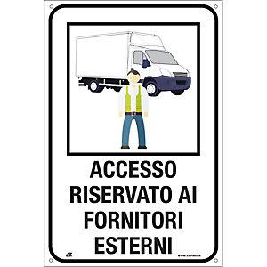 """Segnaletica per emergenza Covid-19, Cartello """"Accesso riservato ai fornitori esterni"""", 120 x 180 mm"""