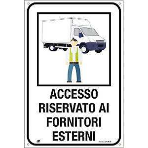 """Segnaletica per emergenza Covid-19,  Cartello """"Accesso riservato ai fornitori esterni"""", 200 x 300 mm"""