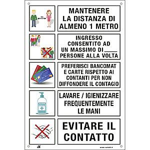 Segnaletica per emergenza Covid-19, Cartello adesivo con prescrizioni per il pubblico per prevenire il contagio, 200 x 300 mm