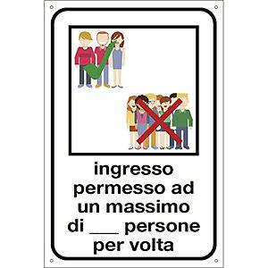 """Segnaletica per emergenza Covid-19, Cartello adesivo """"Ingresso permesso ad un max di n. persone per volta"""", 120 x 180 mm"""