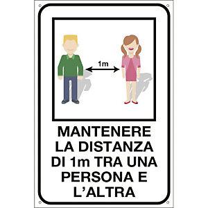 """Segnaletica per emergenza Covid-19, Cartello adesivo """"Mantenere la distanza di 1 metro tra una persona e l'altra, 200 x 300 mm"""