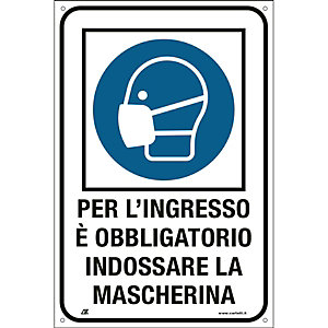 """Segnaletica per emergenza Covid-19, Cartello adesivo """"Per l'ingresso è obbligatorio indossare la mascherina"""", 200 x 300 mm"""