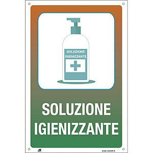 """Segnaletica per emergenza Covid-19, Cartello adesivo """"Soluzione igienizzante"""", 200 x 300 mm"""