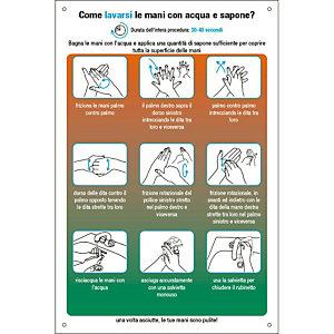 """Segnaletica per emergenza Covid-19, Cartello """"Come lavarsi le mani con acqua e sapone?"""", 200 x 300 mm"""