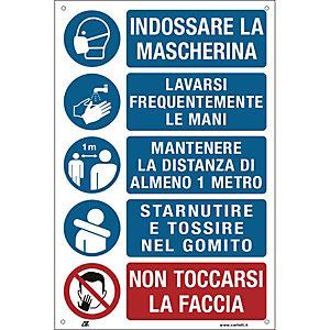Segnaletica per emergenza Covid-19, Cartello con prescrizioni per i lavoratori per prevenire il contagio, 200 x 300 mm