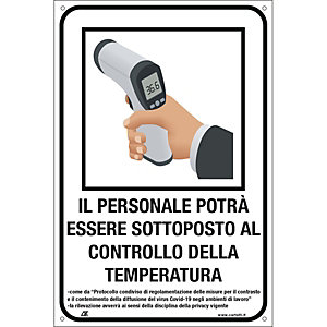 """Segnaletica per emergenza Covid-19, Cartello """"Controllo temperatura per il personale"""", 120 x 180 mm"""