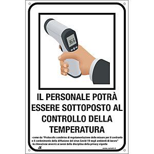 """Segnaletica per emergenza Covid-19, Cartello """"Controllo temperatura per il personale"""", 200 x 300 mm"""