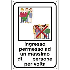 """Segnaletica per emergenza Covid-19, Cartello """"Ingresso permesso ad un max di n. persone per volta"""", 200 x 300 mm"""
