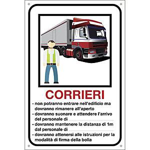 Segnaletica per emergenza Covid-19, Cartello per corrieri personalizzabile , 200 x 300 mm