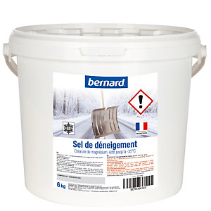 Sel de déneigement chlorure de magnésium, seau de 6 kg