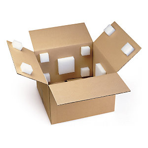 Self-adhesive blocks prevent movement in boxes