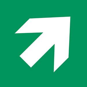 """Señal de combinación de PVC resistente """"Flecha de dirección (45º) 200 x 200mm verde"""