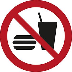 """Señal de prohibición de PVC resistente """"Prohibido comer y beber"""" 200 (Ø)mm roja"""
