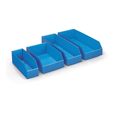 Pack de 100 bacs bleus##Set 100 blaue Kunststoff-Regalkästen