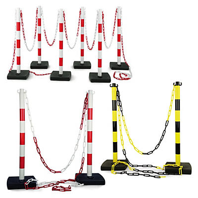 Kit poteaux de balisage en PVC + chaîne##Set Absperrpfosten PVC mit Kette
