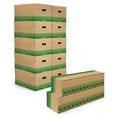 Pack archivage carton recyclé 50 boîtes-archives et 10 caisse multi-usages##Set Archivboxen braun 50 Ablageboxen und 10 Klappdeckel Archivboxen