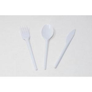 Set coltello, forchetta e cucchiaio monouso in PS, Riciclabile, Bianco (confezione 1.000 pezzi)