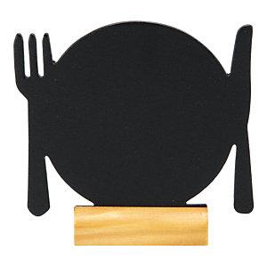 Set da 3 lavagnette da tavolo Silhouette Piatto con 1 marcatore a gesso incluso, Nero/Legno