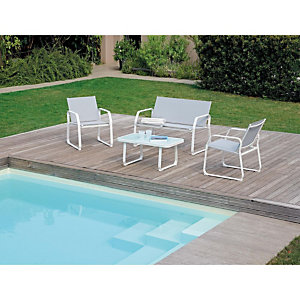 Set da giardino Positano, Struttura bianco/Textilene grigio