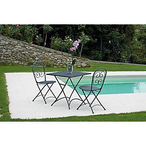 "Set da giardino tavolo con due sedie ""Elba"", Ferro, Antracite"