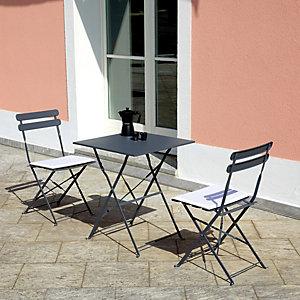 Set da giardino tavolo con due sedie Lunch Time, Ferro, Antracite