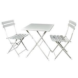 Set da giardino tavolo con due sedie Lunch Time, Ferro, Avorio
