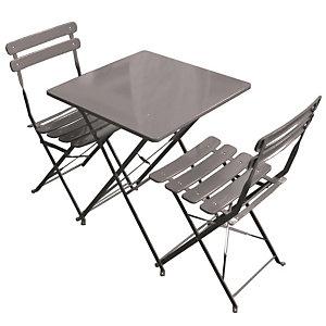 Set da giardino tavolo con due sedie Lunch Time, Ferro, Tortora