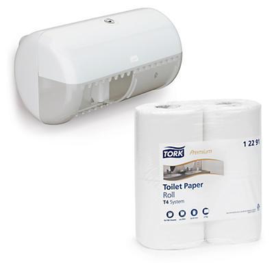 Pack papiers toilette Premium + distributeur Tork twin##Set Toilettenpapiere Premium TORK