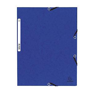 Set van 10 kaften met elastische banden 3 flappen Exacompta blauwe kleur