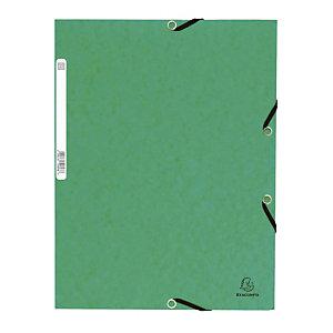 Set van 10 kaften met elastische banden 3 flappen Exacompta groene kleur