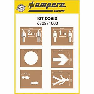Set van 6 Ampere Covid stencils voor sociale afstand