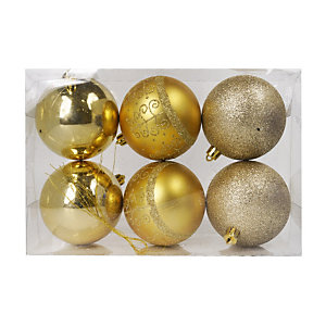 Sfera decorativa natalizia, ø 80 mm, Oro (confezione 6 pezzi)