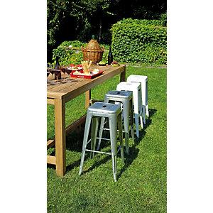Sgabello alto da giardino impilabile Plate, Lamiera galvanizzata, Avorio
