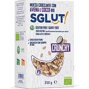 SGLUT Muesli croccante con avena e cocco Bio SGLUT®, Senza glutine, Senza latte e derivati, 250 g