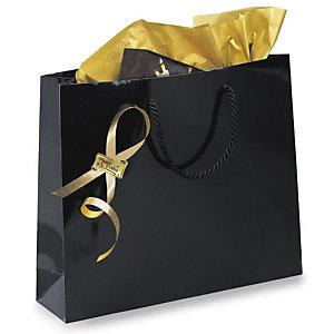 Shopper laccata lucida, 19 x 27 x 10 cm, Nero (confezione 25 pezzi)