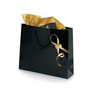 Shopper laccata lucida, 30 x 25 x 10 cm, Nero (confezione 25 pezzi)