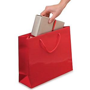 Shopper laccata lucida, 30 x 25 x 10 cm, Rosso (confezione 25 pezzi)