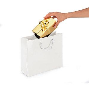 Shopper laccata lucida, 40 x 32 x 12 cm, Bianco (confezione 25 pezzi)