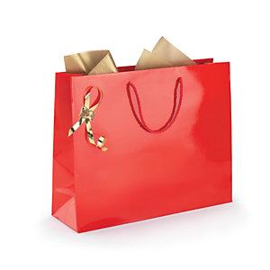 Shopper laccata lucida, 40 x 32 x 12 cm, Rosso (confezione 25 pezzi)