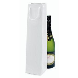 Shopper laccata lucida per 1 bottiglia, 10 x 40 x 10 cm, Bianco (confezione 25 pezzi)